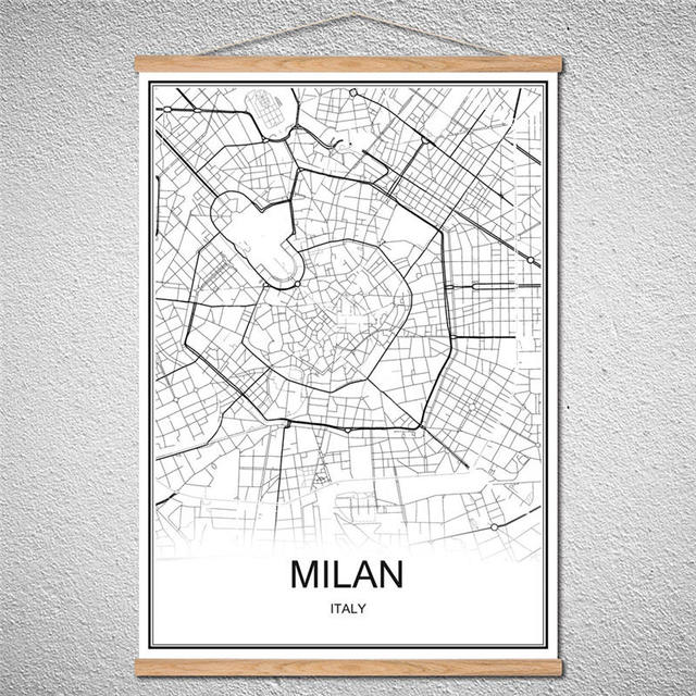 Customized pattern modern milan world city map poster canvas customized pattern modern milan world city map poster canvas abstract print picture oil painting with frame gumiabroncs Choice Image