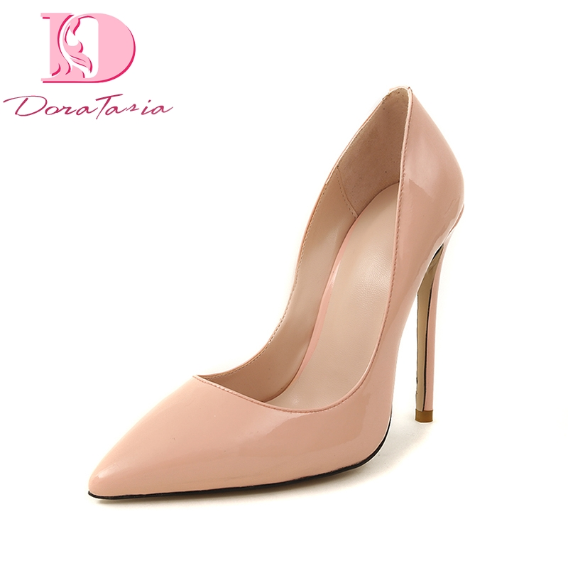 DoraTasia Large Size 33-43 Top Quality Genuine Leather Brand Design Summer Pumps Shoes Women Sexy Thin High Heels Shoes цена