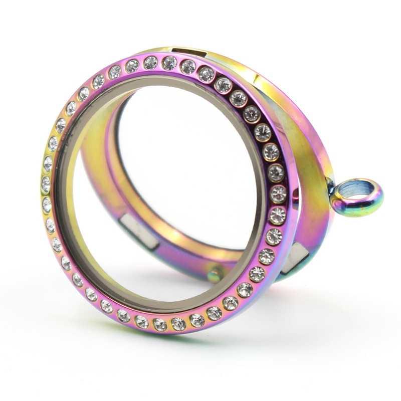 (Bez charms) hurtownie rainbow kolor 20mm 25mm 30mm 35mm magnetyczny 316L ze stali nierdzewnej pływające medalion wisiorek
