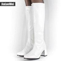 Jialuowei costumi di Halloween Bianco 1960 s Go Go Signore Retro Stivali Per donne Stivali Alti Al Ginocchio 60 s 70 s Fancy Party Dress Plus size