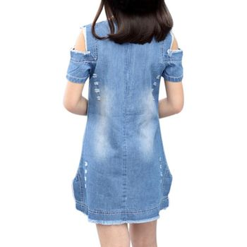 Fashion Baby Girl Pattern Straight Mini Dress Kids Children Girl Print Short Summer O-Neck Denim Dresses Clothes Clothing 1