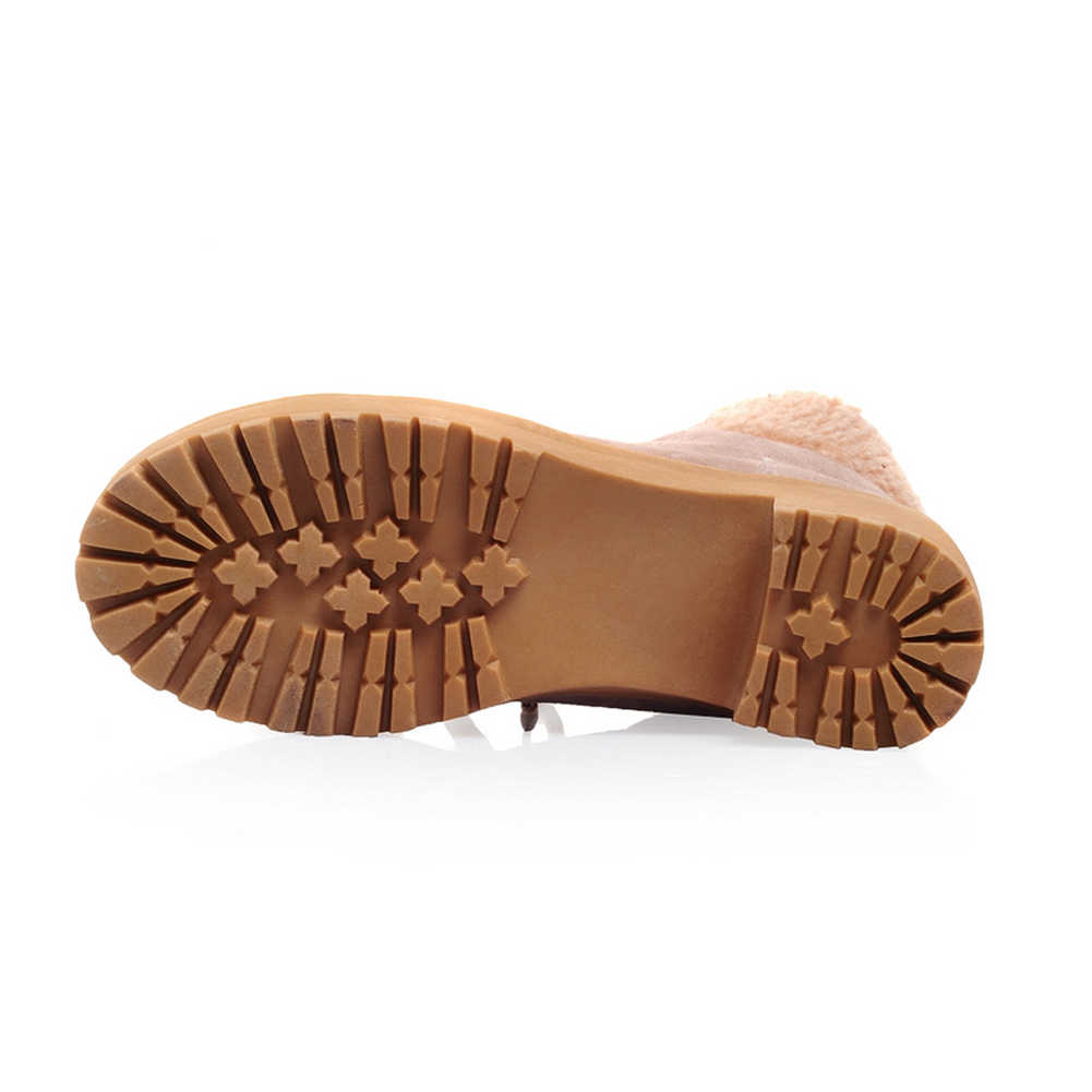 BONJOMARISA Yeni Dropship Büyük Boy 34-43 Kış kaymaz Platform Kar Patik Kadın Sıcak Peluş Med Tıknaz topuklu Ayakkabılar Kadın
