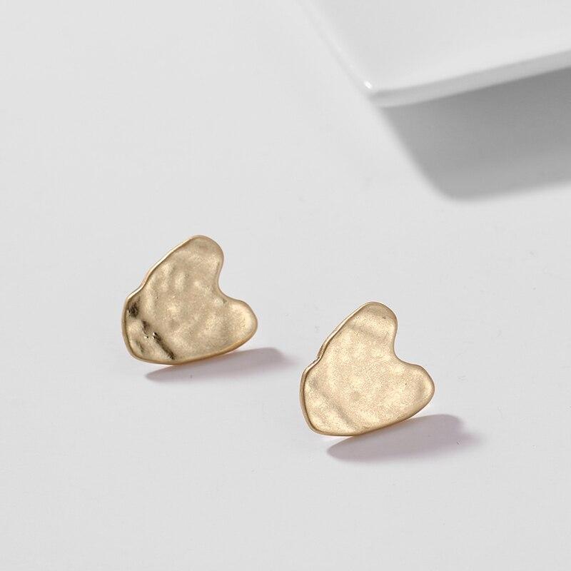 Wantobuy Korean Fashion Gold Geometric Heart Vintage Earrings Charming Zinc Alloy Hollow High End Stud Earrings for Women 2019 in Drop Earrings from Jewelry Accessories