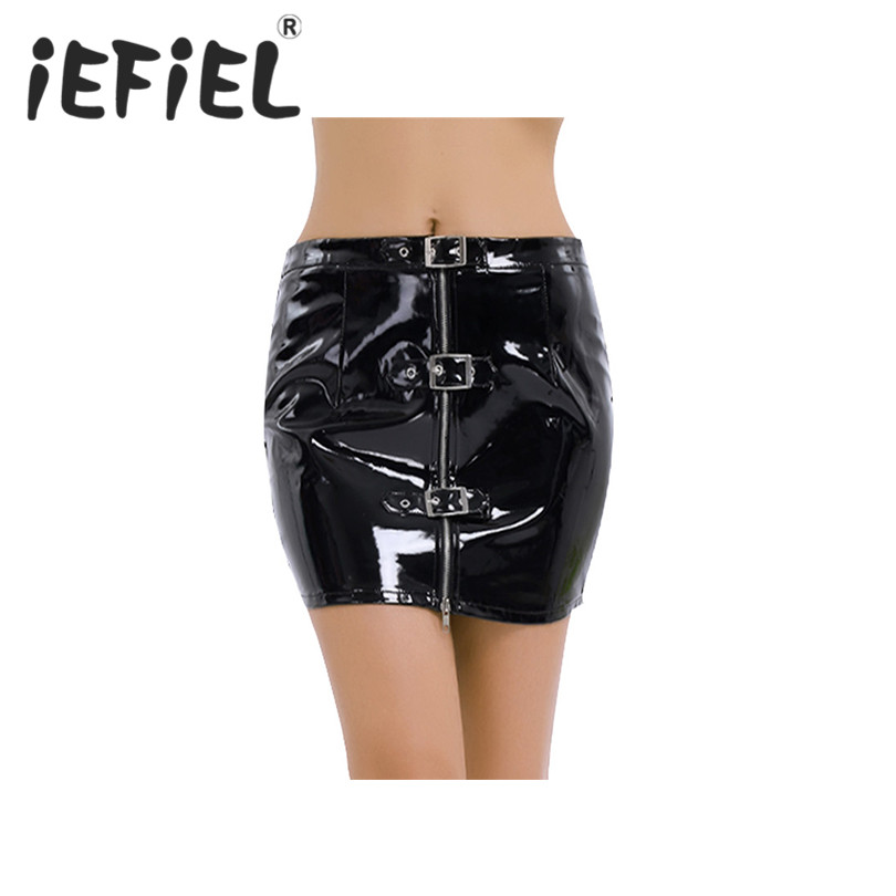 iEFiEL Sexy Black Women Adults Wetlook PVC Leather Zippered Buckles Bodycon Mini Skirt Clubwear Patent Leather Nightclub Skirts