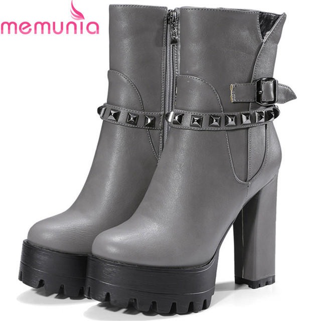 eb1eeb77b6d MEMUNIA Motorcycle boots female spuer heels shoes 12cm platform boots  fashion shoes woman ankle boots big size 34-42