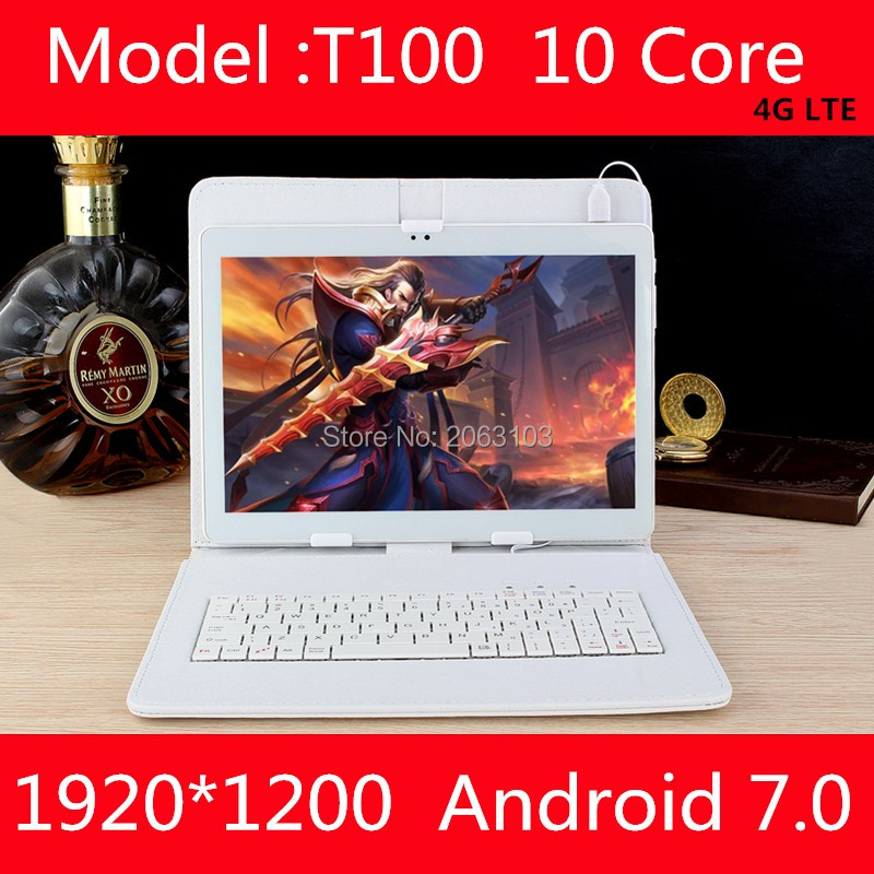 Nouveau 10 pouce Deca Core tablette android 7.0 4g LTE 4 gb RAM 64 gb ROM 1920x1200 IPS double cartes sim caméras Wifi 10 10.1 GPS Comprimés