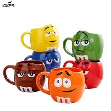 M & M coffee mugs ceramic tea cups and mugs large capacity mark cute bean expression cartoon creative drinkware send spoon велошлем kellys mark детский цвет розовый с белым s m helmet mark pink s m 51 54cm