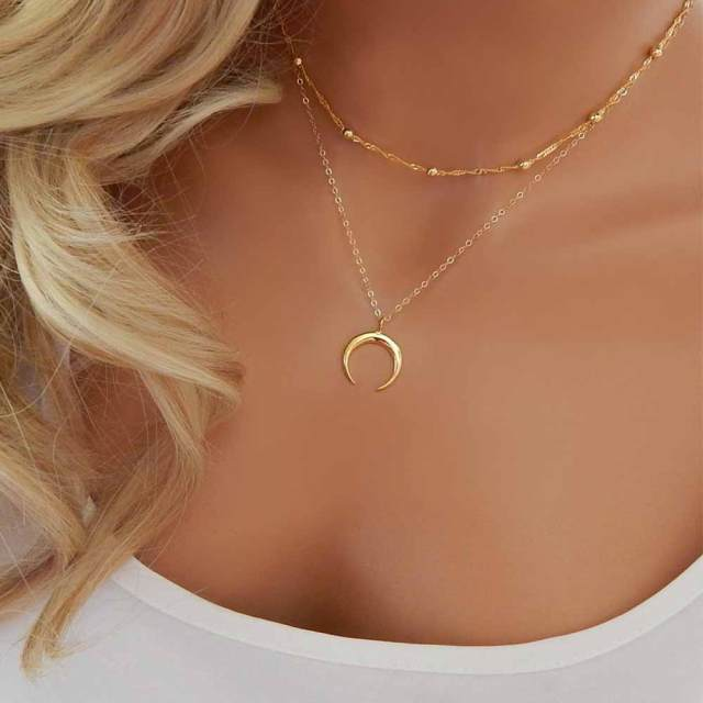 product half garnet ladies simple pendants for moon necklaces cute necklace wholesale silver little galaxy girl crescent small gold