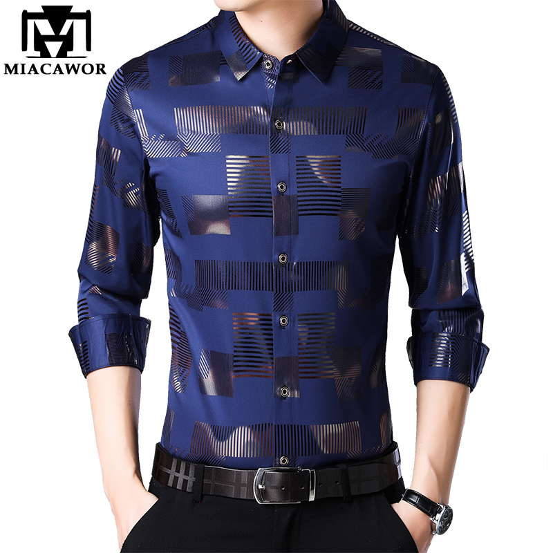 MIACAWOR New Business Casual Shirts Men Fashion Print Slim Fit Dress Shirt Long Sleeve Camisa Masculina Plus Size Clothes C457