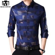 MIACAWOR New Business Casual Shirts Men Fashion Print Slim Fit Dress Shirt Long Sleeve Camisa Masculina Plus Size Clothes C457