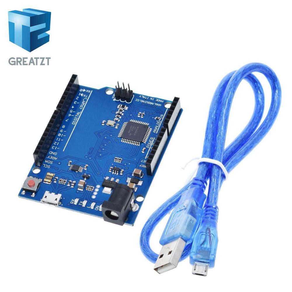 Макетная плата Leonardo R3 с микроконтроллером Atmega32u4, макетная плата с USB-кабелем, совместимая с Arduino, стартовый комплект «сделай сам», GREATZT