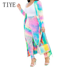 TIYE Fashion Tie-dyed Two Pieces Sets Outfits Jumpsuits Rompers Long Sleeve Elegant Bodycon Playsuits Femme Casual Work Wear