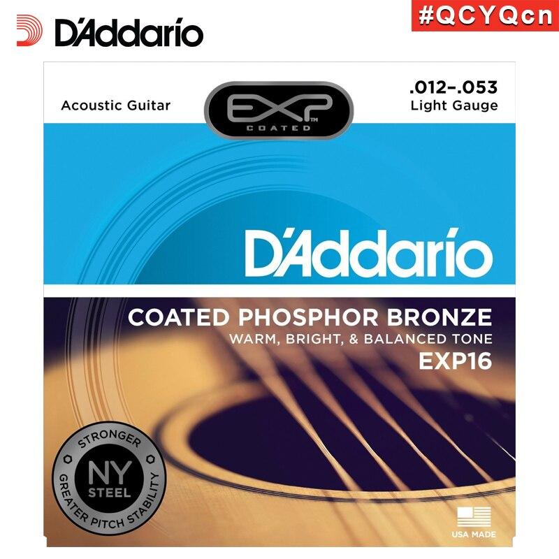 DAddario EXP16 American Made Coated Phosphor Bronze Acoustic Guitar Strings, Light, 12-53