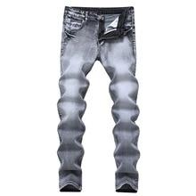 2017 männer Jeans Classis Vintage Grau Slim Fit Gerade Denim Jeans Männliche Beiläufige Lange Hosen Retro Hosen Brand Jeans Größe 28-40