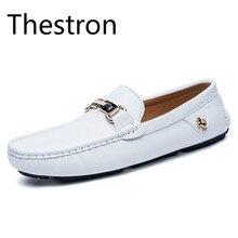 Thestron Лоферы Для мужчин Закрытая обувь Мокасины Для мужчин обуви повседневная обувь для вождения Модные Белые оранжевый дышащий Light 2018