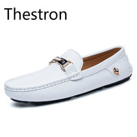 Thestron Loafers Men Slip On Shoes Loafers Moccasins Men's Shoe Casual Shoes Driving Fashion White Orange Breathable Light 2018