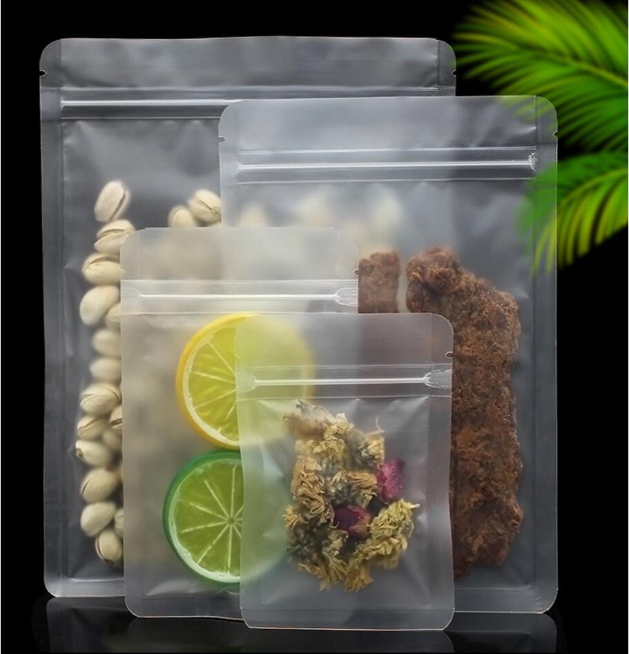 Beducht 50 Stks/partij Zelfsluitende Ziplock Matte Clear Theezakje Voedsel Zakjes Pack Tassen Plastic Verpakking Voor Koffie Thee
