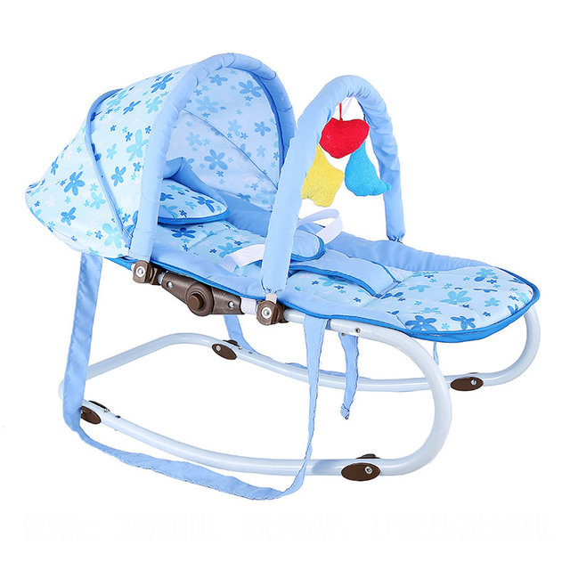 Portable Baby Rocking Chair, can sit can lie Multifunctional Baby Cradle, steel pipe Baby Chair with mosquito net 2
