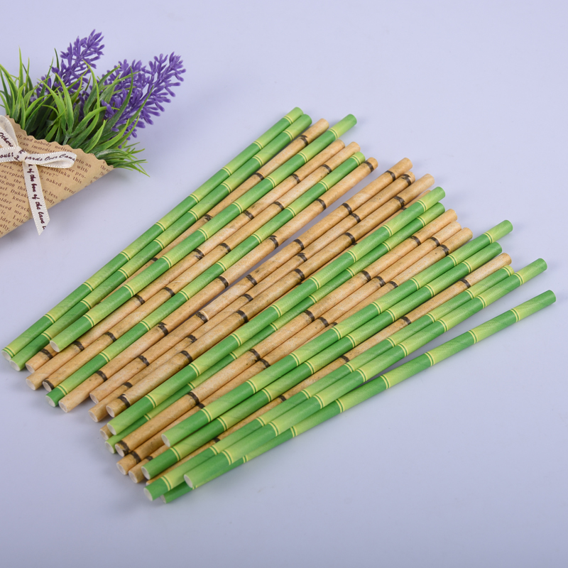 25pcs Cake Topper Green Bamboo Paper Straws Kids Happy Birthday Wedding Decorative Event Tropical Party Supplies Drinking Straws
