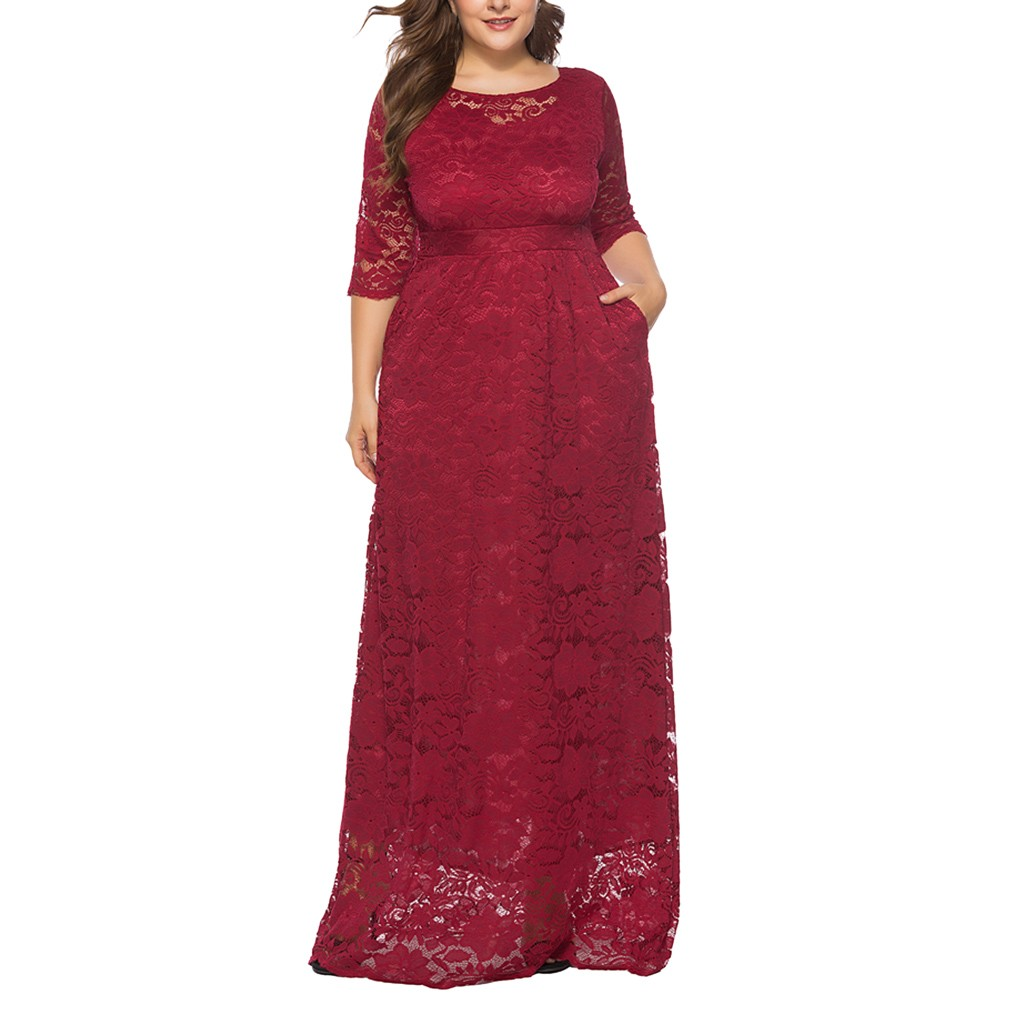 2019 High Quality Women Solid Oversize Vintage Floral Lace Plus Size Cocktail Formal Swing Dress Hot sale 29#