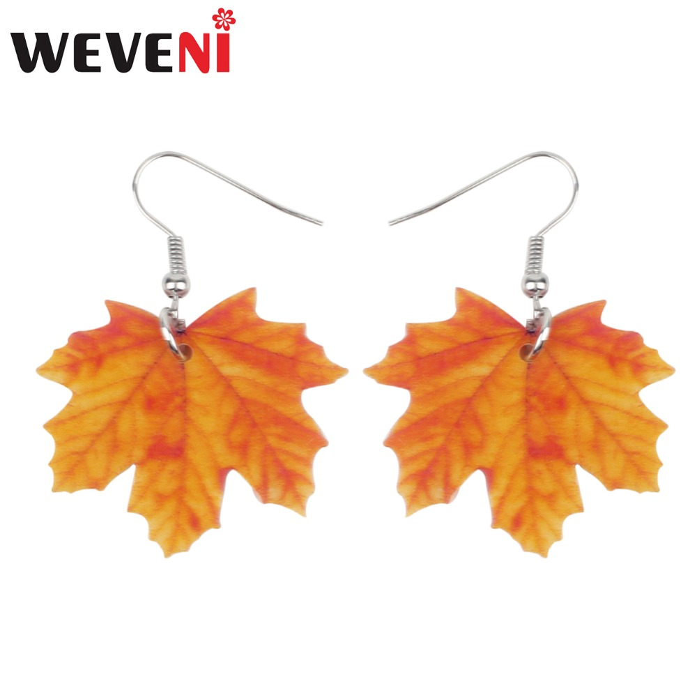 Acrylic Novelty Maple Leaf KeyChain Ring For Women Kid Wallet Plant Jewelry Gift