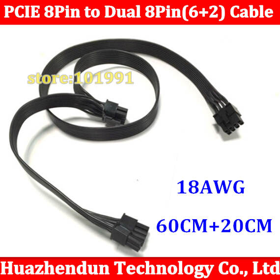 1pcs New PCIE 8 Pin GPU Male TO 8Pin(6+2) PCI-E Male  Adapter Power Extention Cable 18AWG 60CM+20CM ribbon cable high quality new product 16awg module cable 7pin male to gpu 6pin male gpu 8pin 6 2 male for server for power 80cm