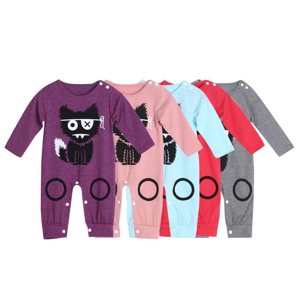 Cartoon Long Sleeve Baby Romper Little Monster Baby Boy Girl Romper Infant Warm Jumpsuit Kids Cotton Clothes