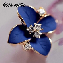 KISS WIFE 2016 New elegant noble blue flower ladies gold rhinestone earrings piercing Brinco women free