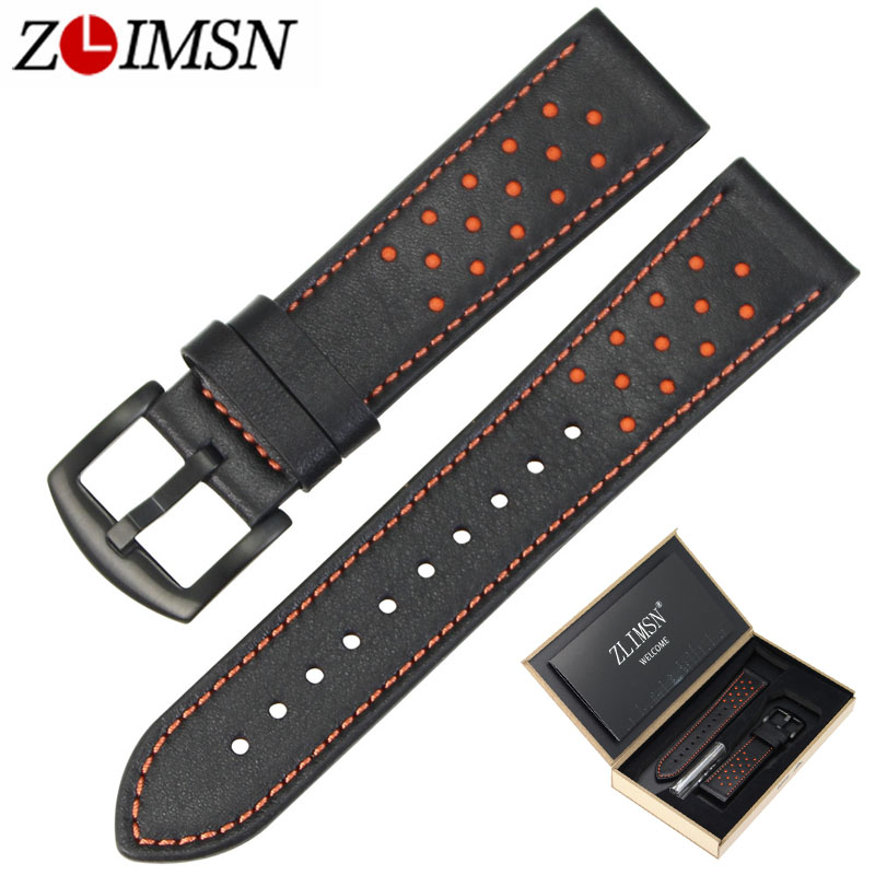 ZLIMSN Watch Strap Green Blue Black Brown Genuine Leather Watchbands Replacement 22mm with Black Stainless Steel Buckle vik max adult kids dark blue leather figure skate shoes with aluminium alloy frame and stainless steel ice blade