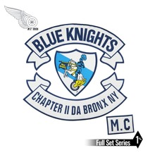 BLUE KNIGHTS PATCH Rider Biker Embroidered Iron On Back of Jacket Patch White twill fabric Free Shipping DIY Eco-Friendly gargoyles fallston n g mc iron on sew on patch big size for full back of jacket rider biker embroidery patch free shipping
