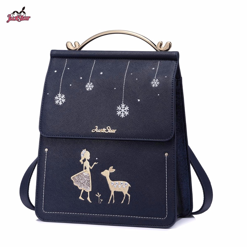 New Just Star Brand Design Fashion Antlers Handle Diamonds PU Leather Women's Backpack Ladies Girls School Travel Shoulders Bags