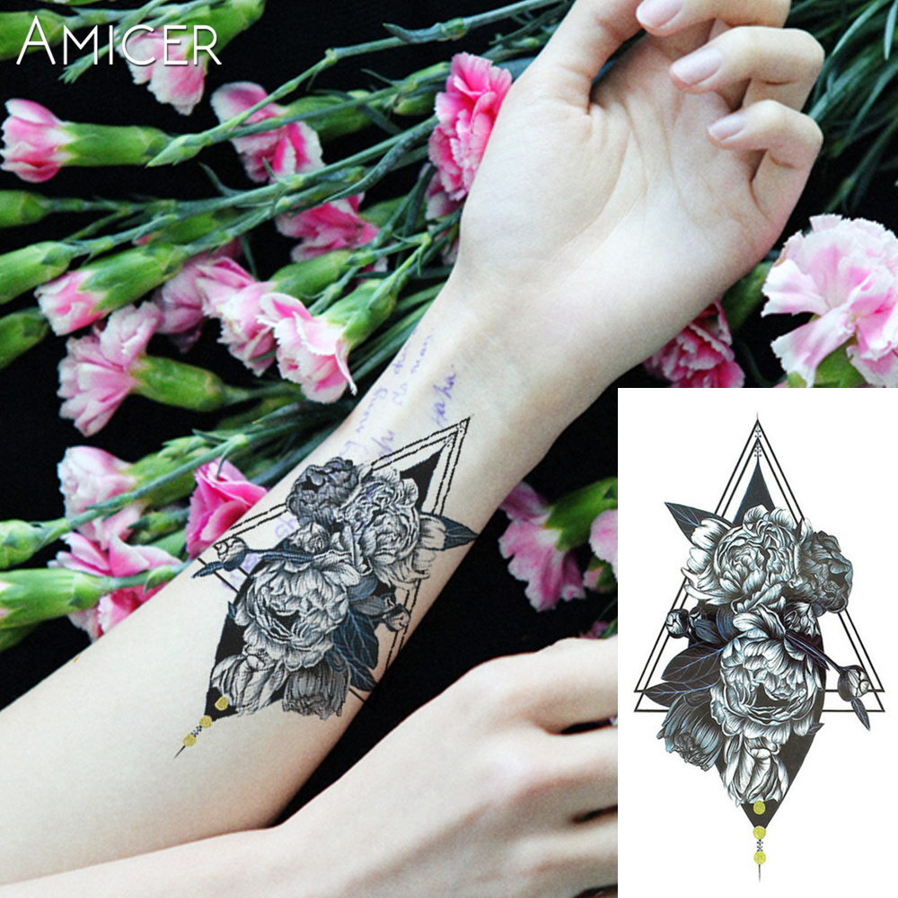 Henna Rose Tattoo: 1PC Gray Rose Hot Black White Large Flower Henna Temporary