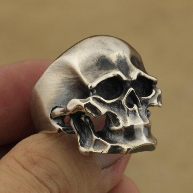 925 Sterling Silver Heavy Skull Ring Mens Biker Rock Punk Ring TA43A US 7~15