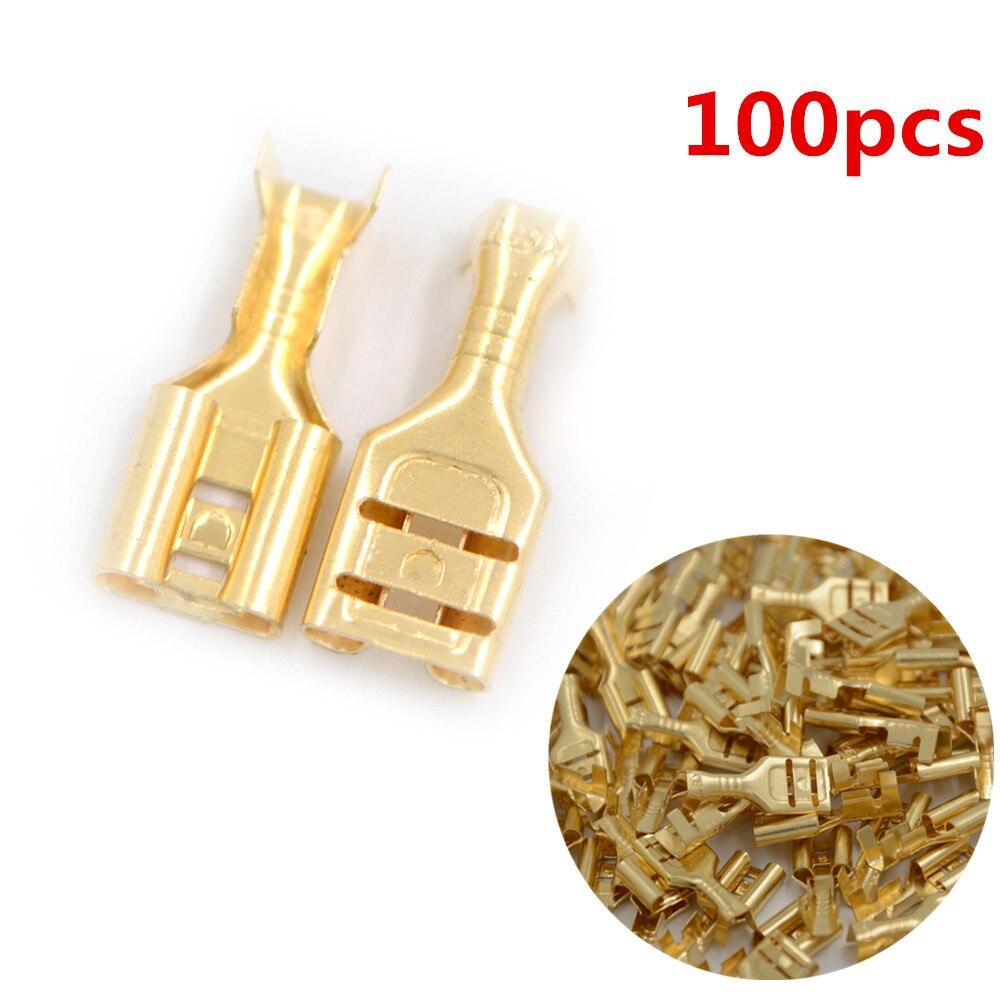 100pcs Brass Crimp Terminal 4.8mm Female Spade Quick Crimp Terminal Connectors Wholesale wire splice connectors