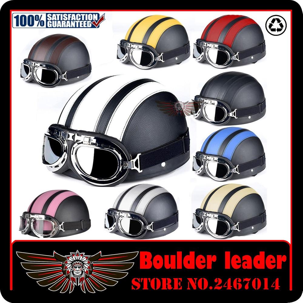 Vintage Motorcycle Helmet Harley Open Face Retro Half Helmets Moto Motocicleta Capacete Casco Casque Kask with Goggles