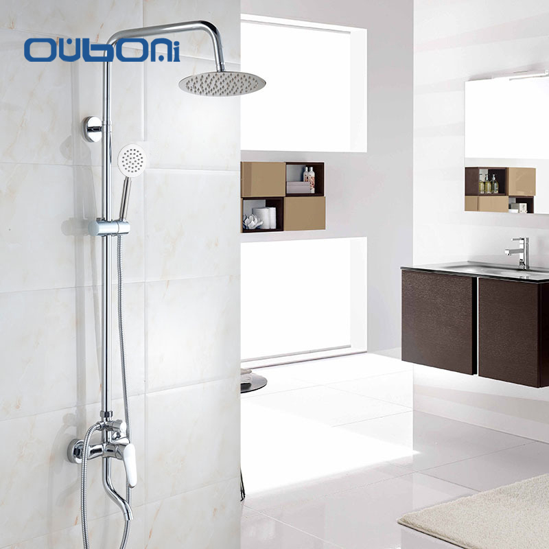 OUBONI Concise Style  Rainfall Shower Head System Polished Chrome Bath & Shower Faucet Bathroom Luxury  Mixer Shower Combo Set sognare new wall mounted bathroom bath shower faucet with handheld shower head chrome finish shower faucet set mixer tap d5205
