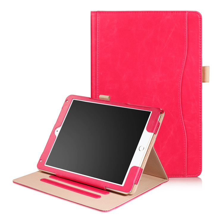 Rose red Wallet case with hand loop, stand and leather style for iPad 9.7 (2017, 2018, A1893), Air 1,2