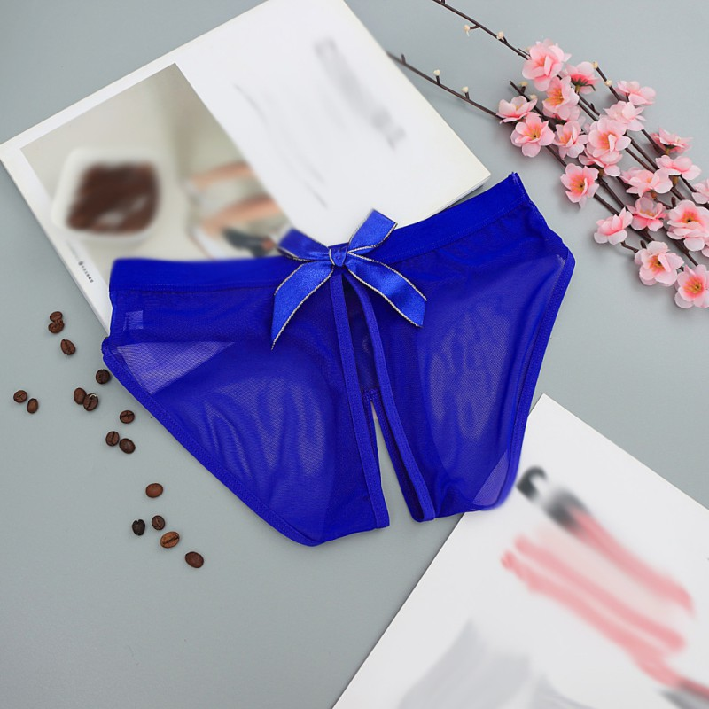 Porno Open Split Panties Women Erotic Solid Color Seamless Underwear Transparent Lingerie Sexy Low Waist Female Intimates