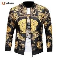 Unebiya 2018 Spring New Men S Religion Element Printing European Style Jacket Slim Vintage Printed Mens