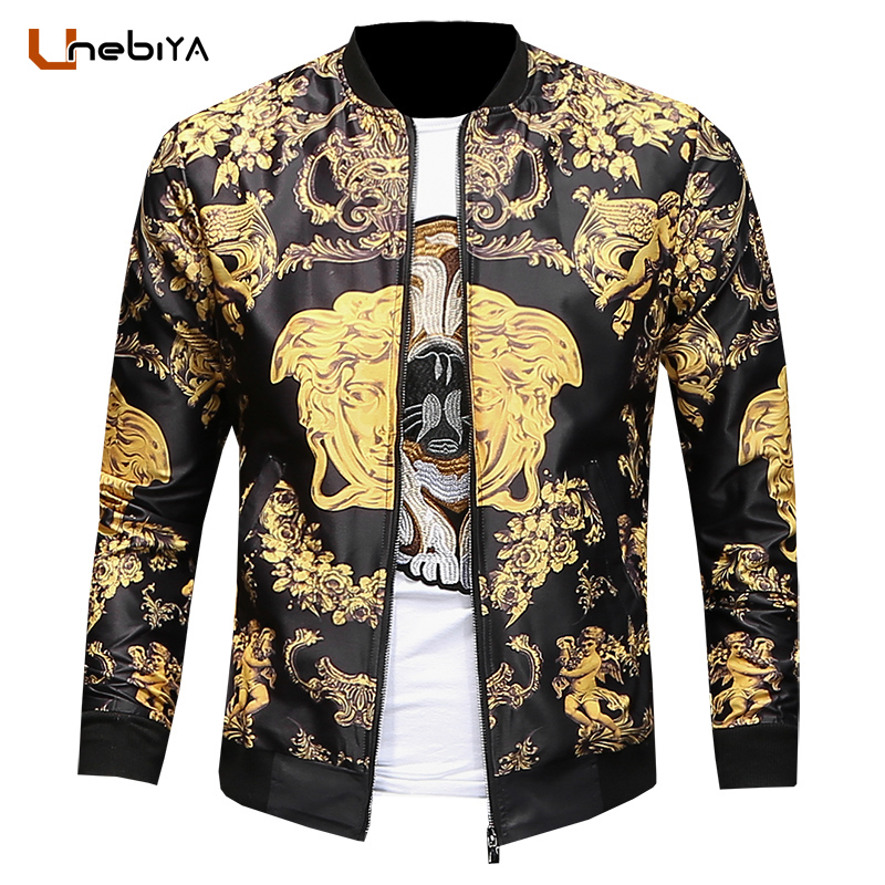 Unebiya 2018 Spring New Men's Religion Element Printing European Style Jacket Slim Vintage Printed mens bomber jackets coats yt0281 italy 2009 european conference on religion european map 1ms new 0521