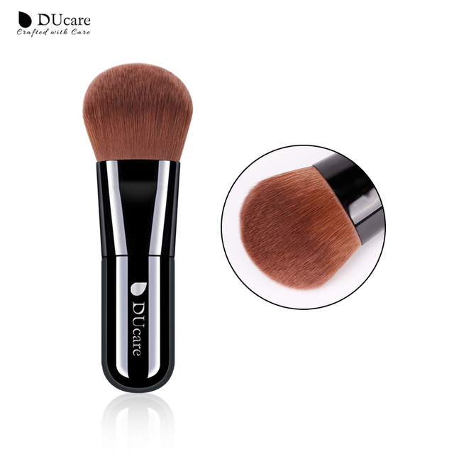 Ducare Fundación cepillo 1 piezas maquillaje profesional de los cepillos de maquillaje de alta calidad superior marrón pelo sintético
