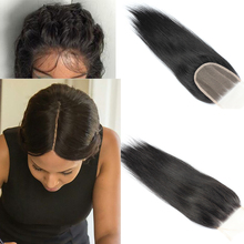 7a Virgin Brazilian Straight Lace Closure Bleached Knots 100% Human Hair Closures With Baby Hair 4X4 Free Middle 3 Part Closure