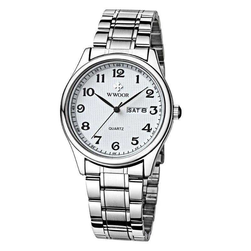 Original Mens Watch Brand WWOOR Auto Date Steel Sport Wristwatch Relojes Dress Men Casual Watches (Japan Al33A Quartz Movement relojes full stainless steel men s sprot watch black and white face vx42 movement