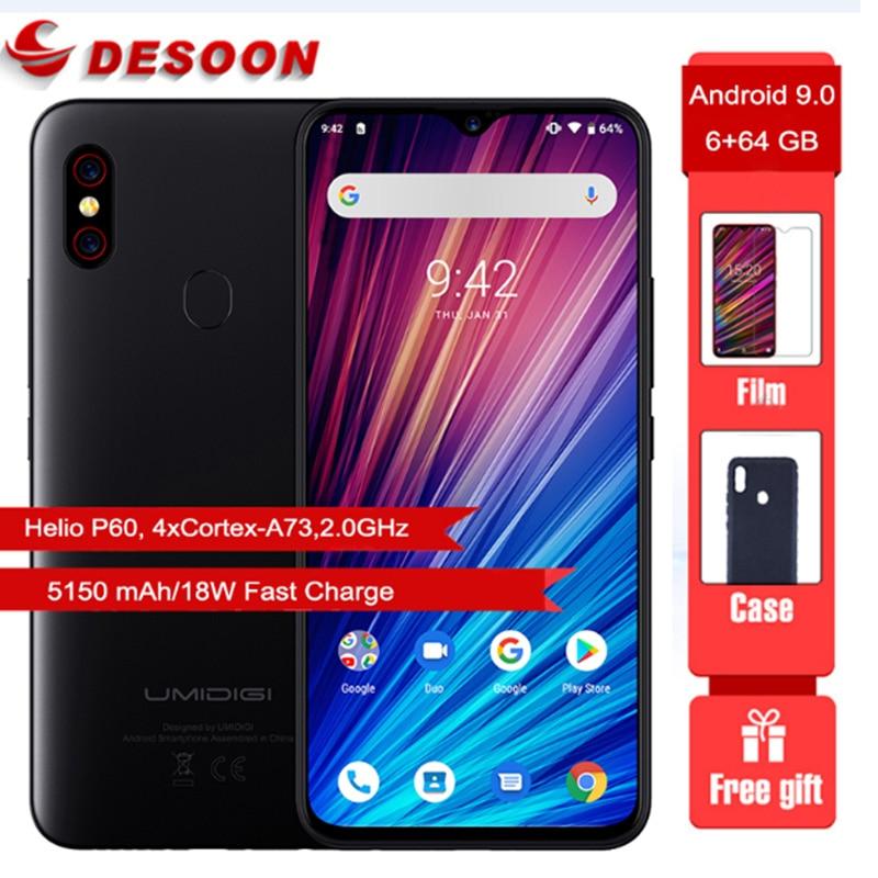 Umidigi F1 Play Smartphone 5150mAh big battery 6.3 inch 19.5:9 Helio P60 Octa Core 48MP+8MP Camera 6GB 64GB Android 9.0 Mobile