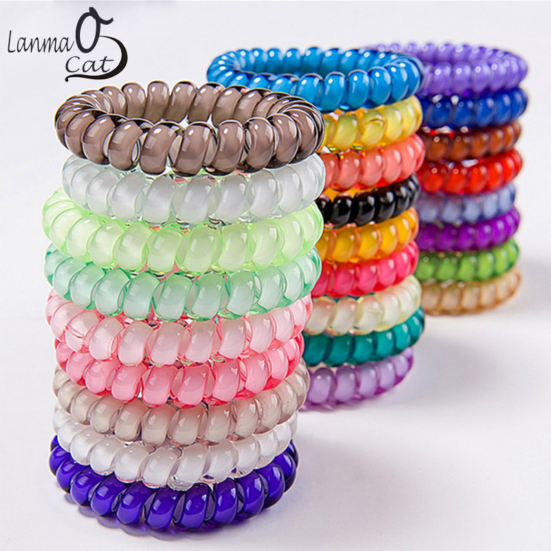 (3pcs) Popular Scrunchies Telephone Wire Gum For Ladies Elastic Hair Band Rope Candy Colored Bracelet  Large Size Scrunchy