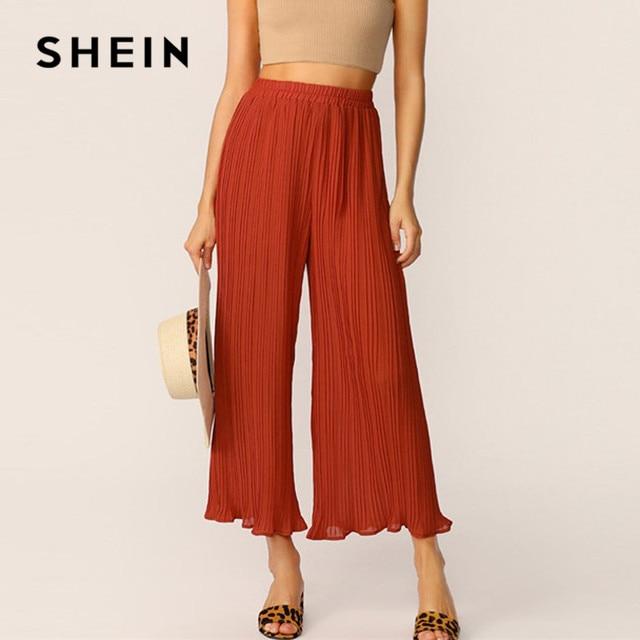 1f9d17892e SHEIN Rust Elastic Waist Pleated Wide Leg Pants Long Trousers Women Spring  Summer Casual Streetwear Solid Mid Waist Loose Pants