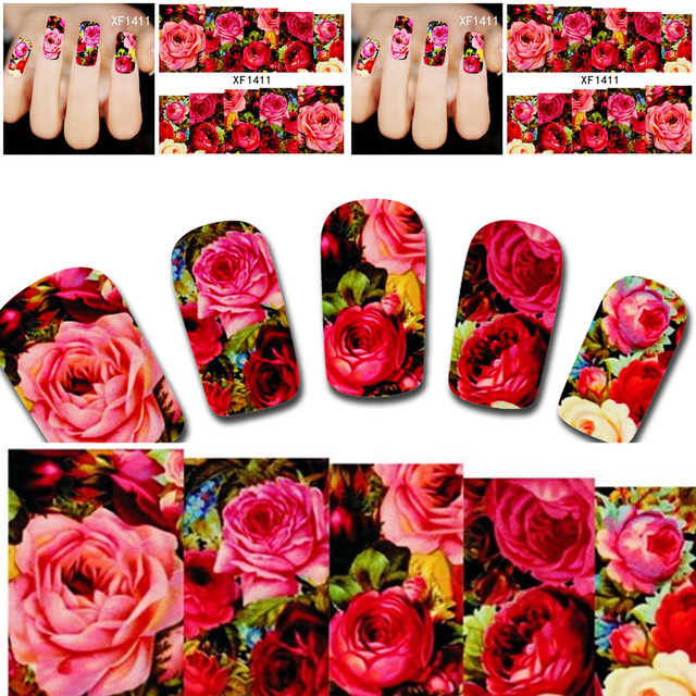 1sheets Hot Designs Charm Sexy Nail Art of Decorations Red Flower Full Cover Women Nails Nail Art Water Transfer Stickers XF1411