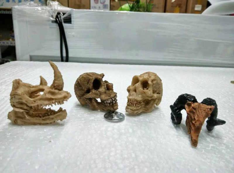 Simulação estátua paisagem ornamento réptil caverna artificial rinoceronte sheepshead resina crânio aquário terrário decoração tanque de peixes