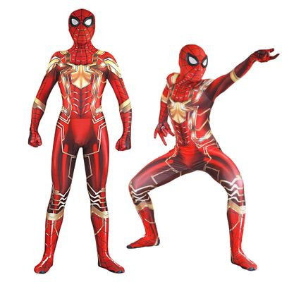 Adult Kids Movie Iron Spider Spiderman Jumpsuit Cosplay Costume Superhero Printing Bodysuit Zentai Tight Catsuit Halloween