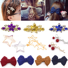 2016 Korean Style Hair Ornaments Flower Hair Clip Fashion Cute Hairpins Gig Bow Hair Clip For Women Hair Accessories natural lace front wigs for black women synthetic hair middle part wig pink straight hair style